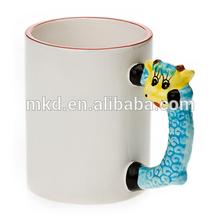 MEIKEDA 11OZ Color Rim BlankSublimation Mug With Sheep Handle