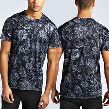 short sleeve allover full floral men custom t shirt printing