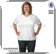 Casual Blouse Fashion Women's +Size Slim V-Neck T-Shirt plus size clothing
