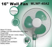 16 inch wall fan Electric power source plastic wall/ceiling fan