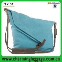 canvas simple design blue woman shoulder bag