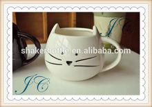 Cute creative design white cat shape ceramic coffee mug with handle