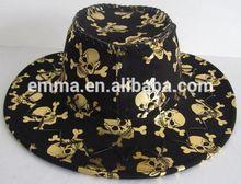 HOT sales Halloween Black Huge Skull Bones Cowboy Hat gold and Silver Jazz Black Fedora Hats Trilby Caps HT088