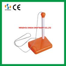 Orange color advertising desk pen with chain, desk pen