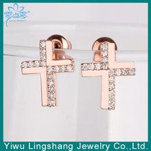 Promotion Cross Earrings Yiwu, Alloy+Zircon, Factory Outlet ,OEM/ODM Service