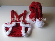 Pai natal crochet do bebê chapéus e ternos para fotografia