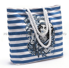 blue white stripe canvas shopping bag/ cotton canvas tote beach bag/ promotional canvas gifts tote bags