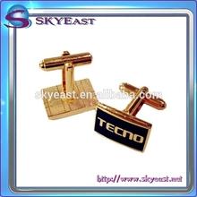 Custom Design Shiny Gold Epoxy Printed Logo Zinc Alloy Cuff Links