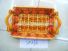 mango de madera cesta de mimbre bandeja