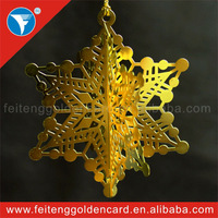 golden 3D brass material Christmas ornaments for Christmas Day decoration,free design 24K golden 3D brass material ornament