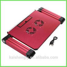 Folding lap desk for laptop with cooling fans