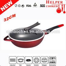 Red Colour Die-casting Aluminum Nonstick Wok,fry pan ,Frying Pan (HC-D8432W)