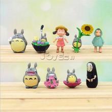 HOT Anime My Neighbor Totoro & Spirited Away Mixed Set of 9pcs Mini Action Figures PVC Models Dolls Desktop Decor Ornaments Toys