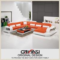 orange leather livingroom sets,Blue Leather down filled sectional sofas