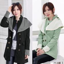 Autumn Winter Fashion Women Coat Contrast Big Lapel Double Breasted Epaulette Outerwear women winter coats G0711