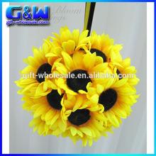 Artificial Sunflower pomander wedding flower ball for Flower girl kissing ball