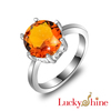 Lucky Shine Newest Holiday Gift Party Jewelry Round Brazil Citrine Gemstone Ring USA Size 7 8 9