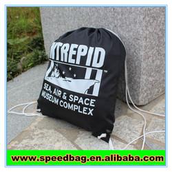 Black nylon drawingstring backpack bag draw string bag