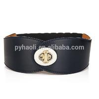 Custom Wide Elastic Belt With Interlocking Belt Buckle