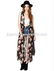 2015 latest designs ladies fancy vintage boho floral sleeveless maxi kimono cardigan