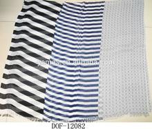 Fashion muffler shawl 100%viscose chiffon stripe scarf