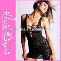 Mature 2014 girl hot selling sex hot black satin lingerie babydolls