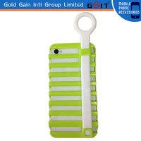 Pull Ring Ladder Phone Holder Silicon+PC Case For iPhone 5, For iPhone 5 Silicon Case With Ladder Phone Holder
