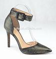 nuevo modelo de moda de cuero de vaca dedo del pie puntiagudo mujeres bombas de tacón alto sandalias zapatos 2014