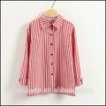 la costumbre de las señoras camisa casual blusa de gasa de ropa al por mayor proveedor de china de rayas de color rosa diseño de la camisa de señora