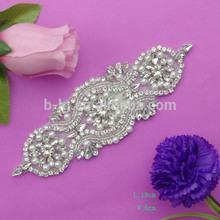 Fashion bling bling handmade clear crystal handmade beaded appliques