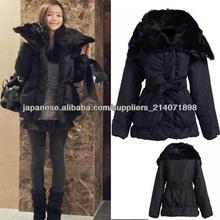 Women's Ladies Winter Warm down jacket black fur collar jacket