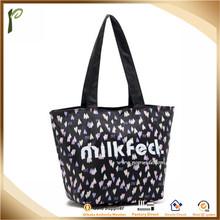Popwide newest 2014 waterproof Printing zipper beach tote bag, 600 denier polyester tote bag