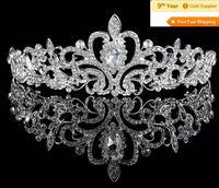 Factory-selling Bridal Wedding Bride Flower Girl Crystal Medium Size Full Circle Round Tiara Crown