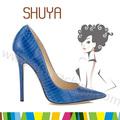 estilo europeu apontou dedo de dama de honra bombas azul royal sapatos de salto alto sapatos de crocodilo