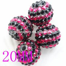 18mm/20mm22mm wholesale fashion multi color rhinestone resin beads chunky rhinestone pave beads