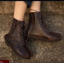 handwork women Dark brown lace-up boots