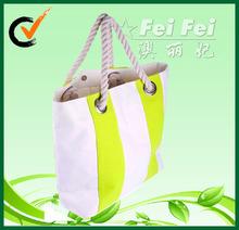 2014 high quality canvas rope handle beach bag