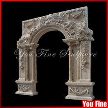 Column Design Travertine Natural Antique Stone Carving Arch