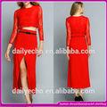 Mais recente 2014 vermelho sexy rendas duas peças frente e saia de fenda, modren mulheres longo vestido da celebridade