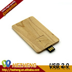 NEW Wooden Credit Card Style USB Pen Drive Customized Business LOGO 16GB Flash Disk Good Quality USB 2.0