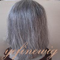High Quality No shedding No tangle Natural Indian Hair Human Hair Grey Lace Front Wig