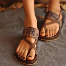 handwork women Lace thong flat sandals