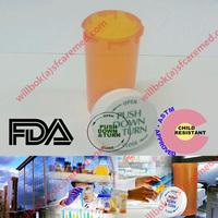 Amber Snap childproof Plastic Rx crc cap push down Medical pill vials