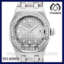 oak design fashion quartz watch for women with date display diamond accent bezel silver tone oak watch