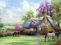 Cavalo que come a grama na frente da casa lona pintura a óleo por thomas