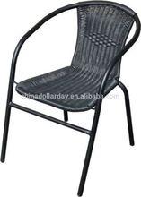 Outdoor Simulation Wicker Rattan Bistro Chair Metal Frame Woven Seat Indoor