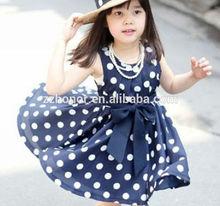 Dark blue wave point dress, korea style dress for kids, hot sale girl party dress