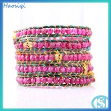 wholesale 2015 hot sale dyeing jade&gold skull wrap bracelet