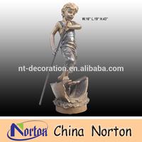 Boy go boating Outdoor bronze sculpture NTBH-C138
