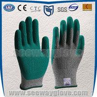 SEEWAY industrial heavy duty green rubber hhpe cut resistant gloves
